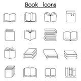 Książkowa ikona ustawiająca w cienkim kreskowym stylu royalty ilustracja