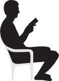 książkowa mężczyzna czytania sylwetka Fotografia Stock