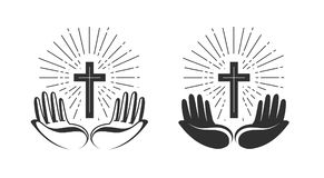 książkowa pojęcia krzyża religia Biblia, kościół, wiara, modli się ikonę lub symbol również zwrócić corel ilustracji wektora royalty ilustracja