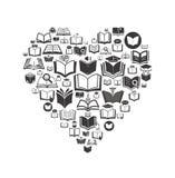 książkowe ikony ustawiają tła konceptualnej zieleni odosobnione bonkrety biały Zdjęcia Stock