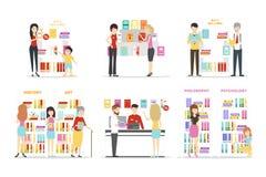Książkowego sklepu set ilustracji