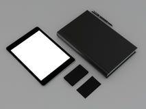 Książkowy czerń i wizytówka na szarej skórze Zdjęcie Stock