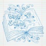 Książkowy Doodle na papierze szkoły Sketchbook ilustracja, Z powrotem Zdjęcia Stock