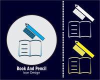 Książkowy i ołówkowy ikona projekt z błękitnym ciemnym tłem royalty ilustracja