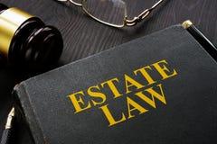 Książkowy nieruchomości prawo, młoteczek na stole i obraz royalty free