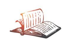 Książkowy, otwarty, papierowy, literatura, wiedzy pojęcie Ręka rysujący odosobniony wektor ilustracji