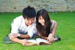 książkowy pary miłości parka czytanie obraz stock