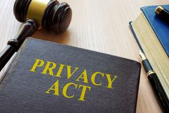Książkowy prywatność akt, młoteczek i zdjęcie royalty free