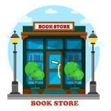 Książkowy sklep lub sklep dla papierowego czytelniczego plenerowego widoku ilustracja wektor