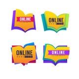 Książkowy sklep, online biblioteka, wektorowa kolekcja logo i ico, Zdjęcia Royalty Free