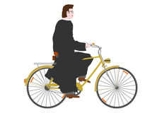 Ksiądz na rowerze. Fotografia Stock