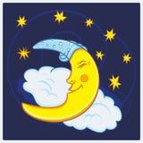 Księżyc dosypianie z gwiazdami w nocnym niebie royalty ilustracja