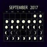 Księżyc faz kalendarz dla 2017 septyczny również zwrócić corel ilustracji wektora ilustracja wektor