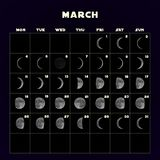 Księżyc faz kalendarz dla 2019 z realistyczną księżyc maszerujący wektor ilustracja wektor