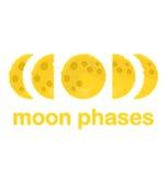 Księżyc fazy, Płaski projekt, wektorowa ilustracja Zdjęcie Stock