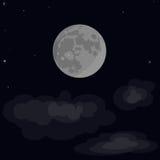 Księżyc, gwiazdy, chmury Księżyc wektor Księżyc z kraterami Zdjęcie Royalty Free