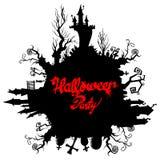 Księżyc Halloween kasztelu horroru nocy ilustracyjna sylwetka royalty ilustracja