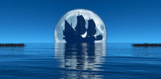 księżyc i żeglowanie statek royalty ilustracja