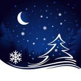 Księżyc i gwiazd bożych narodzeń tło Obraz Royalty Free