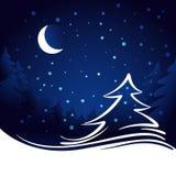 Księżyc i gwiazd bożych narodzeń wektoru tło Zdjęcia Stock