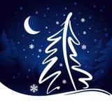 Księżyc i gwiazd bożych narodzeń wektoru tło Zdjęcie Royalty Free