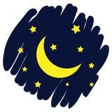 Księżyc i gwiazd ikona Wektor odizolowywający na błękitnym ciemnym tle 10 eps obrazy stock