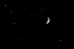 Księżyc przy nocnym niebem Obraz Royalty Free