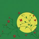 Księżyc i kwiatu tło Zdjęcia Royalty Free
