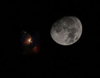 Księżyc i Orion Zdjęcie Stock