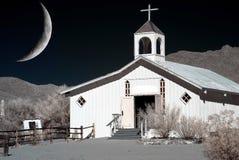 Księżyc i westernu kościół Obraz Royalty Free