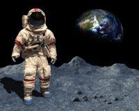 Księżyc lądowanie, astronauta spacer, przestrzeń, Księżycowa powierzchnia Obrazy Royalty Free