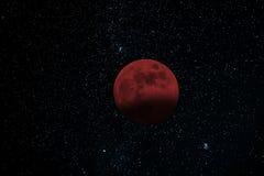księżyc - luna, zaćmienie nad morzem Krwionośna księżyc Obrazy Stock