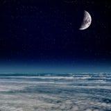 Księżyc nad chmury Zdjęcie Stock