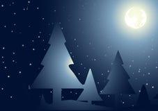księżyc nad drzewami Ilustracja Wektor