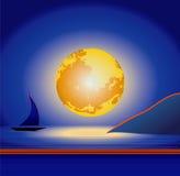 księżyc nad morze Zdjęcia Stock