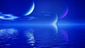 Księżyc nad wodnym sceny bardzo błękitem royalty ilustracja