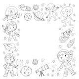 Księżyc powierzchnia Dziecinów dzieci sztuki eksploracja przestrzeni kosmicznej Obcy, ufo, statek kosmiczny rakieta Dzieci, chłop ilustracja wektor
