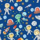Księżyc powierzchnia Dziecinów dzieci sztuki eksploracja przestrzeni kosmicznej Obcy, ufo, statek kosmiczny rakieta Dzieci, chłop royalty ilustracja