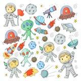Księżyc powierzchnia Dziecinów dzieci sztuki eksploracja przestrzeni kosmicznej Obcy, ufo, statek kosmiczny rakieta Dzieci, chłop ilustracji
