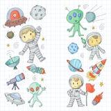 Księżyc powierzchnia Dziecinów dzieci sztuki eksploracja przestrzeni kosmicznej Obcy, ufo, statek kosmiczny rakiety Dzieci, chłop ilustracja wektor
