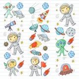 Księżyc powierzchnia Dziecinów dzieci sztuki eksploracja przestrzeni kosmicznej Obcy, ufo, statek kosmiczny rakiety Dzieci, chłop ilustracji