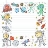 Księżyc powierzchnia Dziecinów dzieci sztuki eksploracja przestrzeni kosmicznej Obcy, ufo, statek kosmiczny rakiety Dzieci, chłop royalty ilustracja