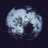 Księżyc przeciw ciemnemu nocnemu niebu pełno gwiazdy na tle Niebiański ciało, księżycowy astronomiczny przedmiot lub satelita w z royalty ilustracja