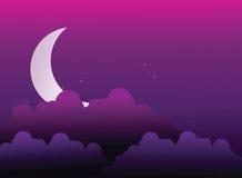 księżyc schowana za chmurami royalty ilustracja