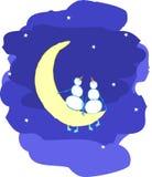 księżyc snowmans Obrazy Stock