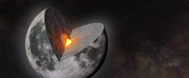 Księżyc struktura, skorupa, salopa, sedno, przed gwiazdowym polem zdjęcie royalty free