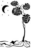 księżyc sylwetki drzewo ilustracji