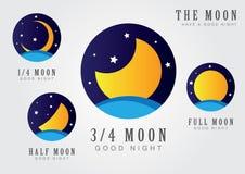 Księżyc ustalona ikona z gwiazdowym niebem i morzem Zdjęcia Royalty Free