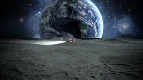 Księżyc włóczęga na księżyc astronautyczna wyprawa Realistyczna 3D animacja royalty ilustracja