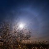 Księżyc w pełni halo - nocy księżyc w pełni krajobraz Zdjęcia Royalty Free